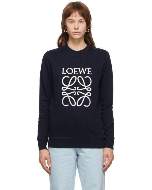 Loewe ネイビー エンブロイダリー アナグラム スウェットシャツ Blue