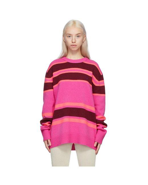 Acne ピンク And バーガンディ ストライプ セーター Pink