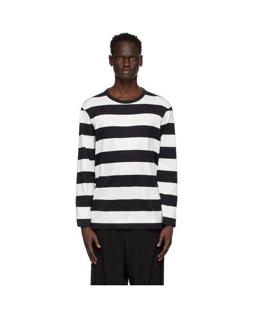 メンズ Yohji Yamamoto ブラック And ホワイト ストライプ ロング スリーブ T シャツ Black