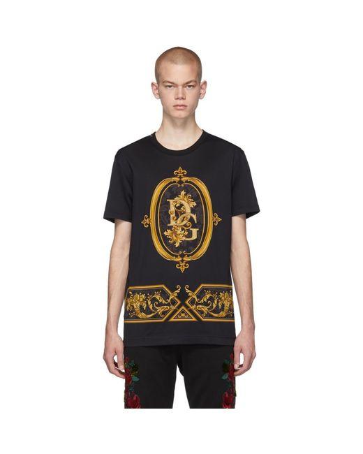 メンズ Dolce & Gabbana ブラック Sacro ロゴ T シャツ Black