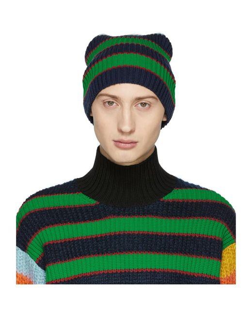 KENZO - Blue Multicolor Striped Memento Beanie for Men - Lyst