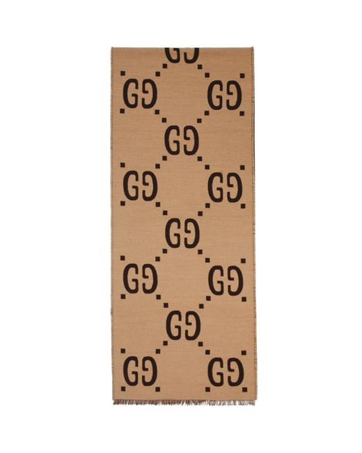 Gucci Brown And Beige Wool GG Scarf for men