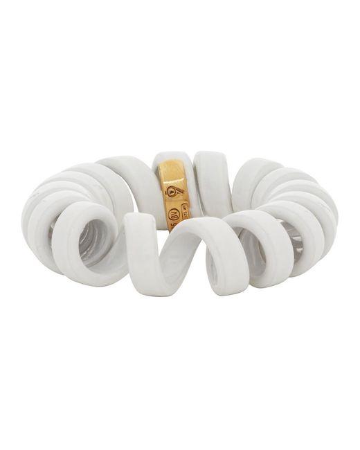 Bague blanche Coiled Bottega Veneta pour homme en coloris White
