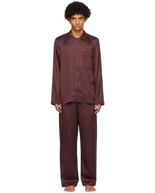 メンズ CDLP バーガンディ Home Suit ロング スリーブ パジャマ セット Red