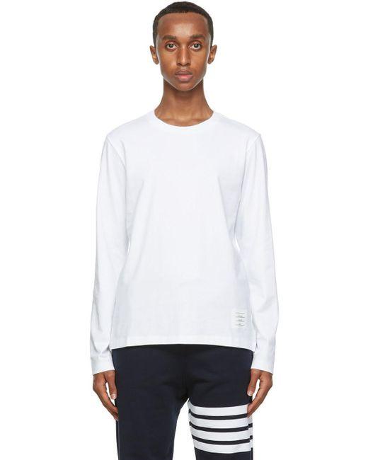 メンズ Thom Browne ホワイト リラックスフィット ロング スリーブ T シャツ White