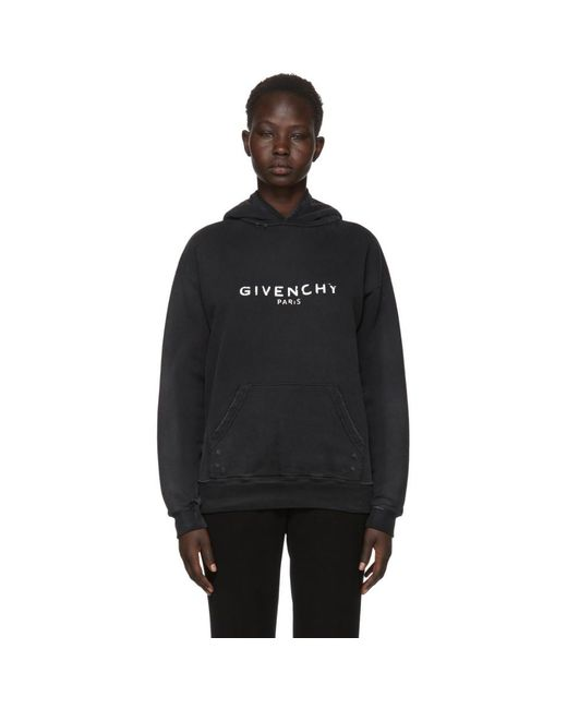 Givenchy - Black Destroyed Logo Hoodie - Lyst