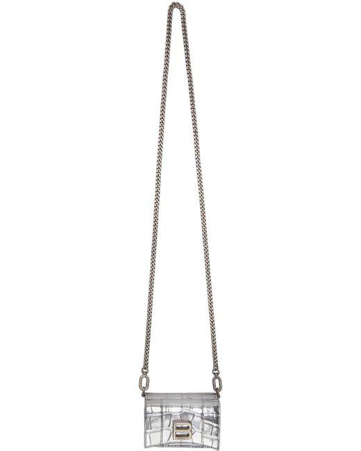 Balenciaga シルバー クロコ ミニ Hourglass ウォレット バッグ Metallic
