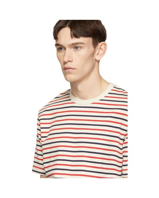 01ddf4bb14 ... Junya Watanabe - Red Off-white Horizontal Stripes T-shirt for Men -  Lyst ...