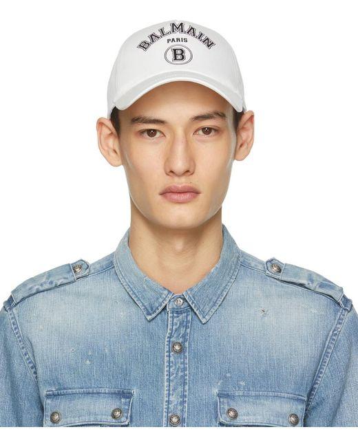 メンズ Balmain ホワイト ロゴ キャップ Blue