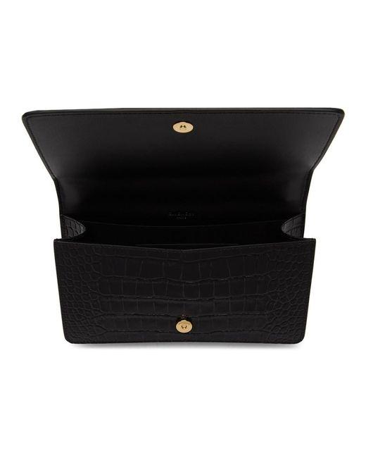 Givenchy ブラック クロコ Gv3 ウォレット バッグ Black