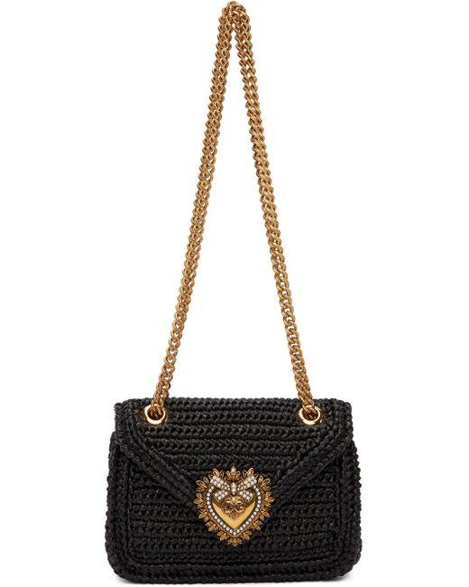 Dolce & Gabbana ブラック ミディアム Devotion バッグ Black