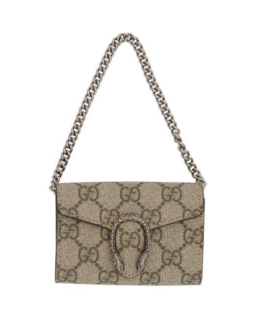 Gucci Brown Beige GG Supreme Dionysus Coin Purse