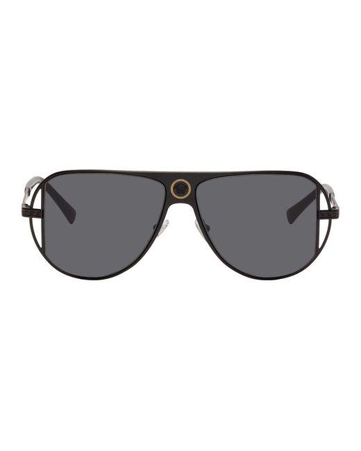 メンズ Versace ブラック Grecamania パイロット サングラス Black