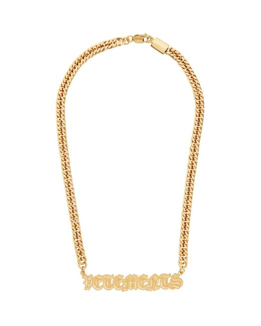 Vetements ゴールド ゴシック ロゴ ネックレス Metallic