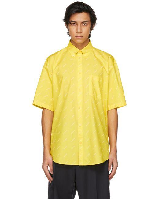メンズ Balenciaga イエロー ロゴ Normal Fit ショート スリーブ シャツ Yellow
