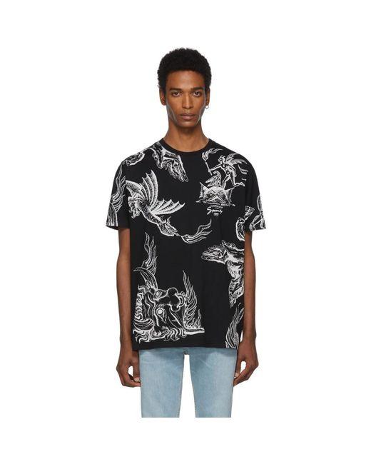 メンズ Givenchy ブラック イカロス レギュラー フィット T シャツ Black