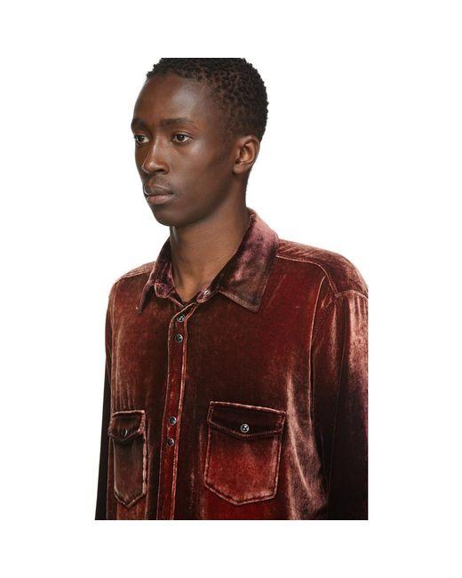 メンズ Saint Laurent レッド ベルベット ウエスタン シャツ Red