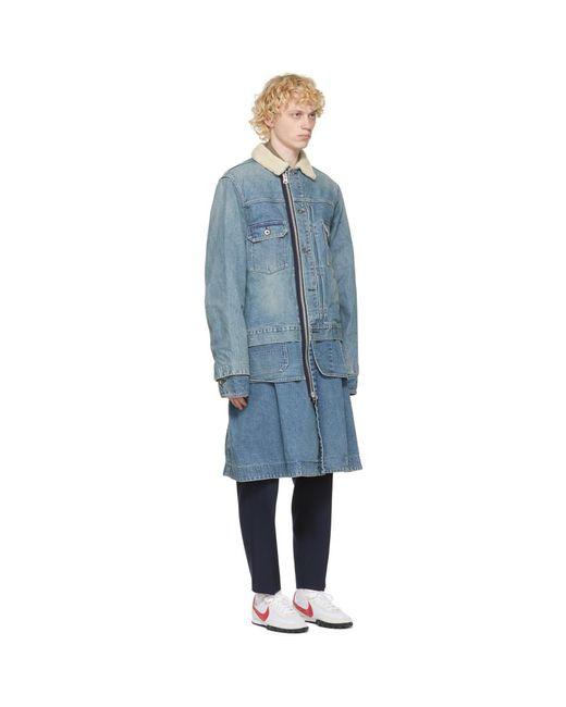 メンズ Sacai ブルー デニム コート Blue