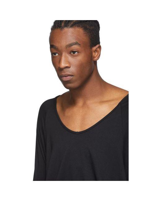 メンズ Random Identities ブラック Drapey V ネック T シャツ Black