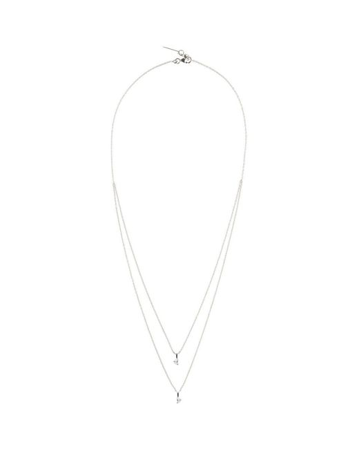 Maison Margiela - White Gold Crescent Diamond Solitaire Bisected Necklace - Lyst