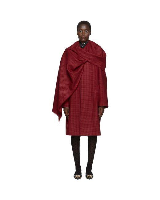 Balenciaga レッド ハウンズトゥース スカーフ コート Red