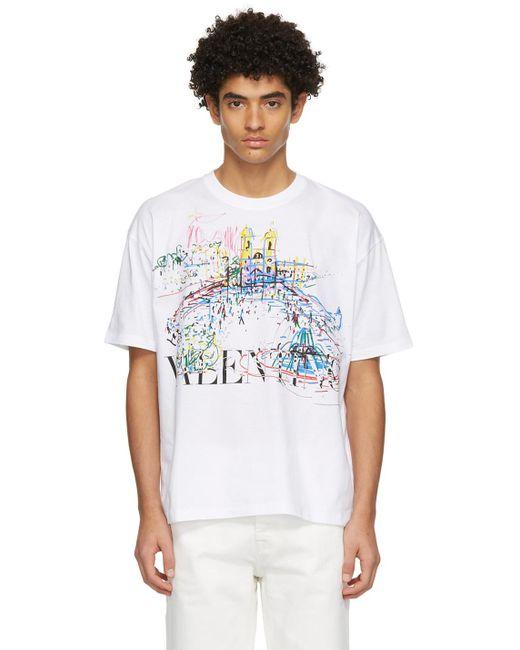 メンズ Valentino ホワイト Roman Sketches T シャツ White