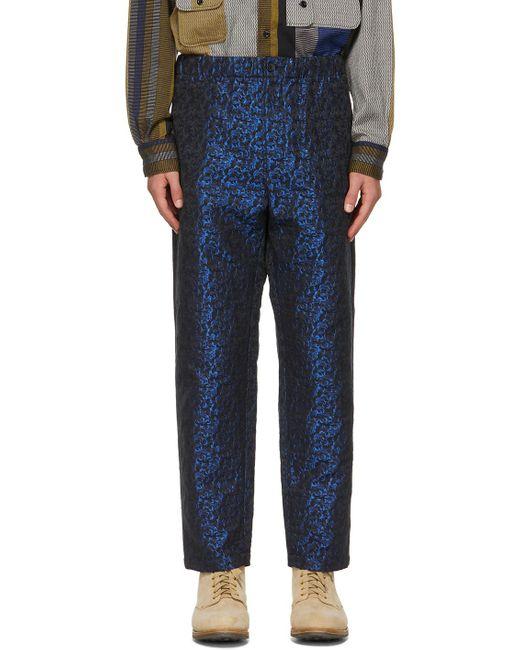 メンズ Engineered Garments ブラック & ブルー ドローストリング トラウザーズ Blue