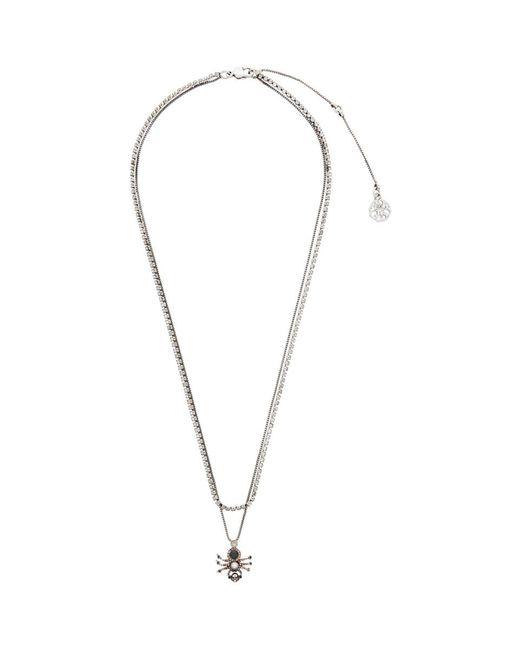 Alexander McQueen Metallic Silver Spider Necklace