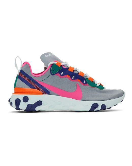 Nike グレー リアクト エレメント 55 スニーカー Multicolor
