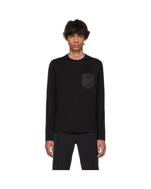 メンズ Prada ブラック サテン ポケット ロング スリーブ T シャツ Black
