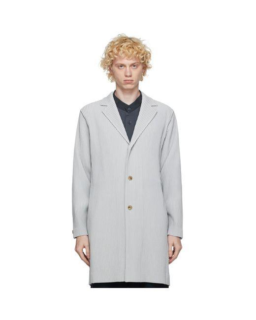 メンズ Homme Plissé Issey Miyake グレー ベーシック ロング コート Gray