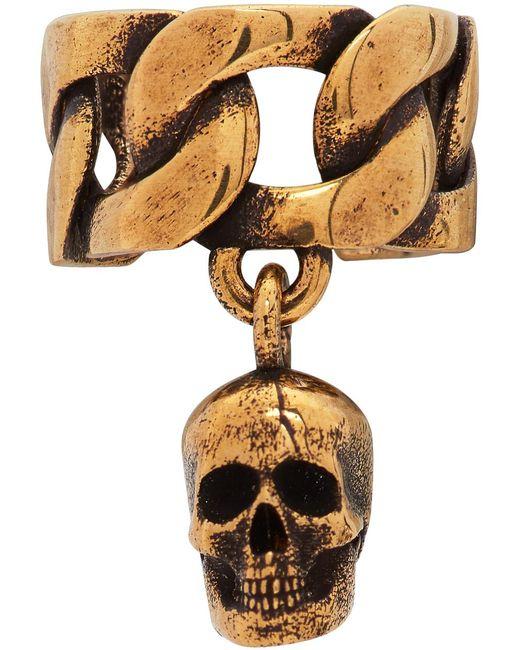 Alexander McQueen Metallic Gold Chain Ear Cuff for men