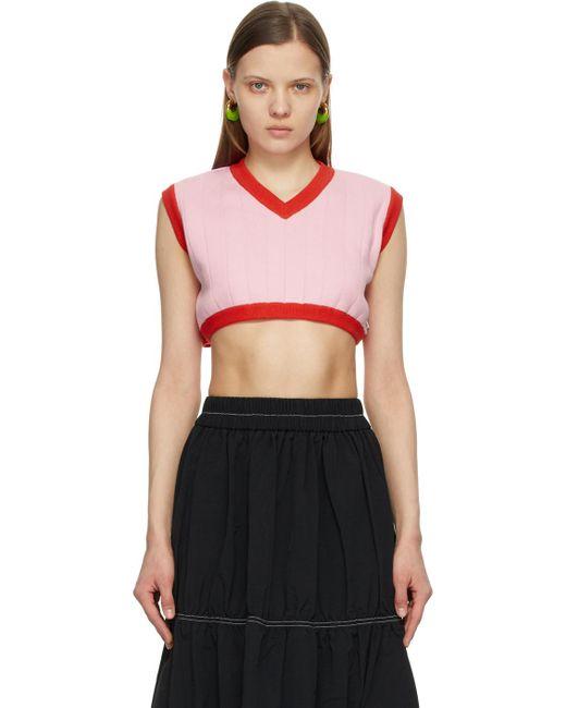 Sunnei ピンク & レッド ノースリーブ V ネック セーター Multicolor