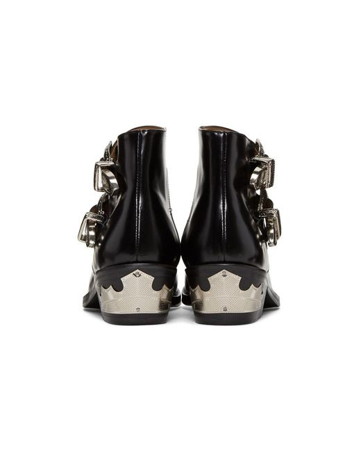 ... Toga Pulla - Black Two-buckle Western Boots - Lyst ...
