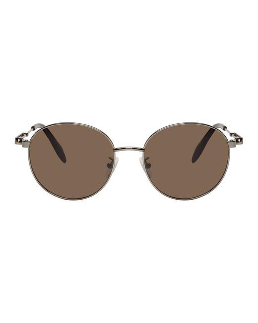 メンズ Alexander McQueen グレー オーバル メタル ピアシング サングラス Gray