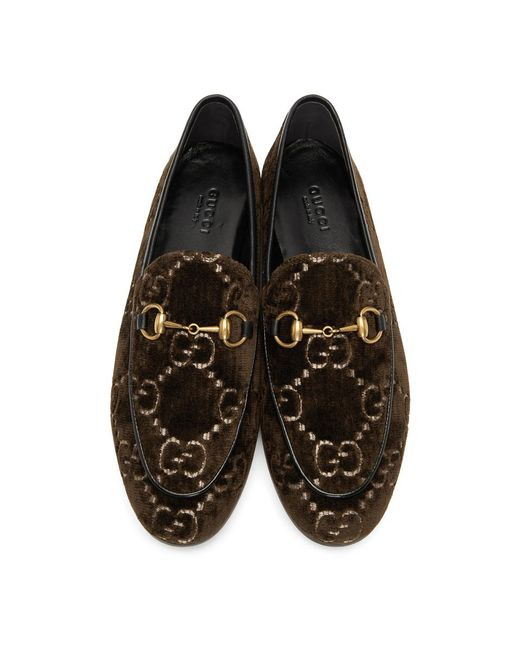 a9ac1949f87 Lyst - Gucci Brown Velvet GG New Jordaan Loafers in Brown