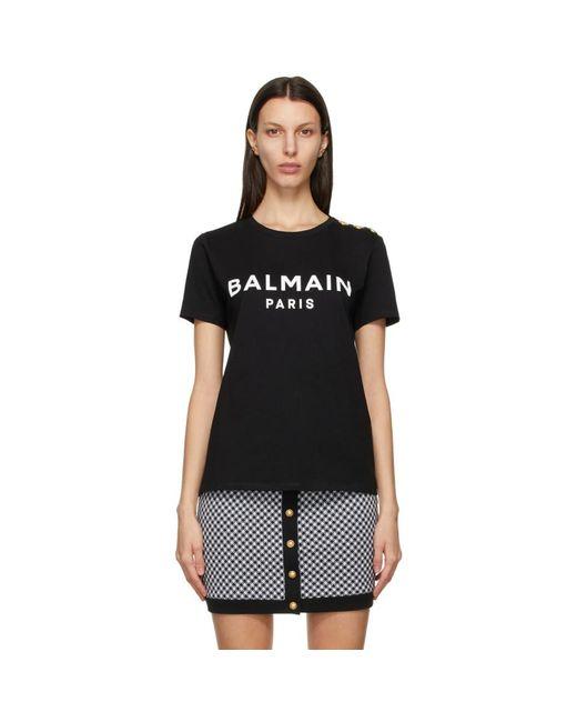 Balmain ブラック And ホワイト ロゴ T シャツ Black