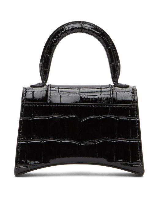 Balenciaga ブラック クロコ ミニ Hourglass バッグ Black