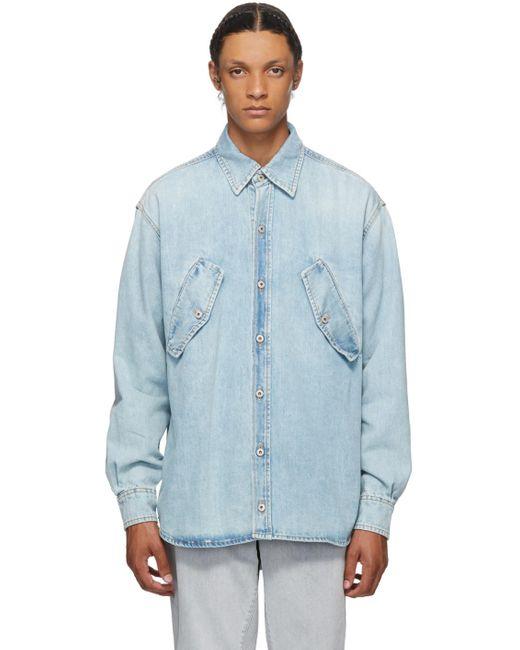 メンズ Marcelo Burlon ブルー デニム Rural Cross シャツ Blue