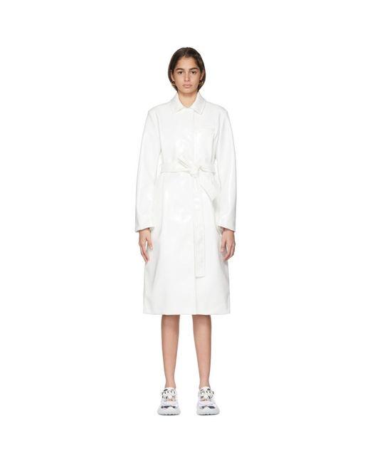Emilio Pucci ホワイト フェイクレザー ベルト コート White