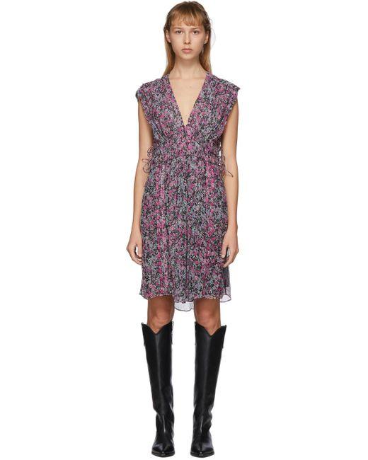 Isabel Marant ブラック & マルチカラー Oaxoli ドレス Purple