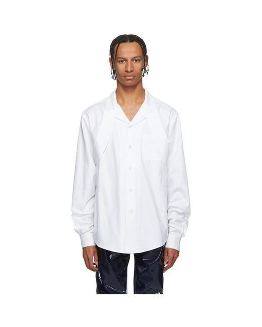 メンズ GmbH ホワイト エクステンド カラー シャツ White