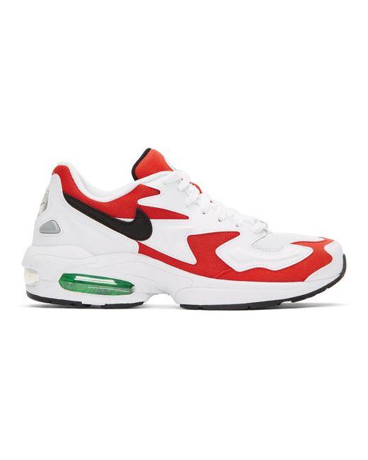 メンズ Nike ホワイト And レッド マックス 2 ライト スニーカー Red