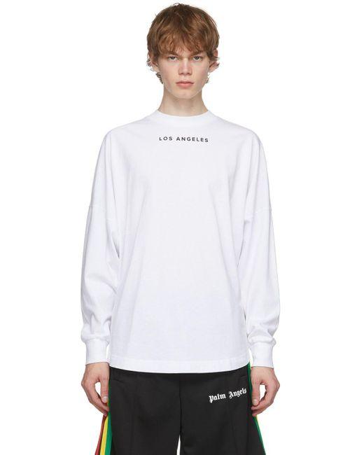 メンズ Palm Angels ホワイト ロゴ Los Angeles Sprayed ロング スリーブ T シャツ White