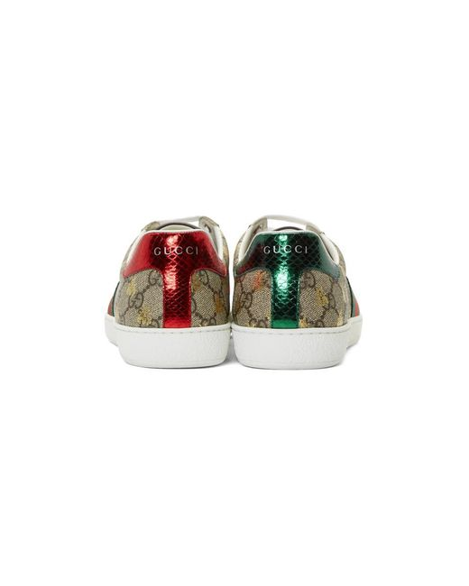 8be476c92bc ... Gucci - Natural Beige And Brown GG Supreme Bees Ace Sneakers for Men -  Lyst ...