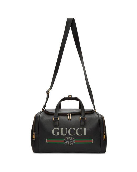 メンズ Gucci ブラック ロゴ プリント ダッフル バッグ Black