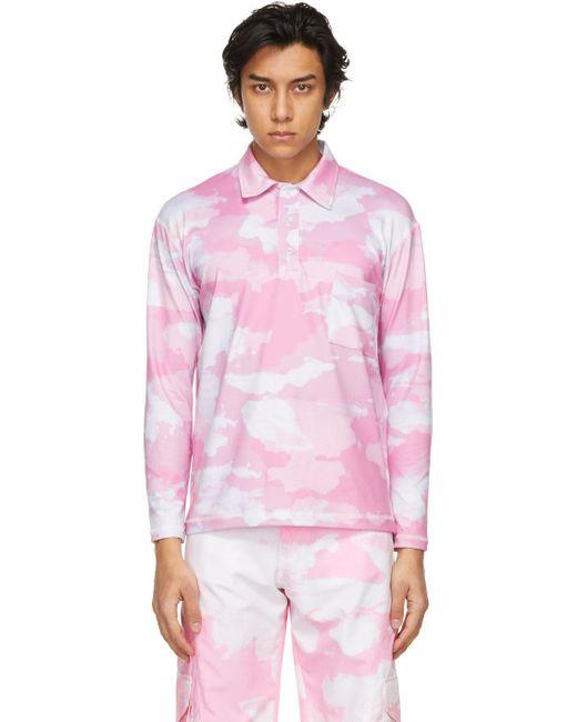 メンズ Phlemuns ピンク Shirred ロング スリーブ ポロシャツ Pink