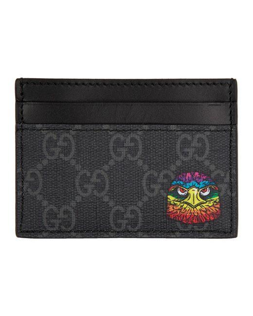 メンズ Gucci ブラック イーグル カード ホルダー Black