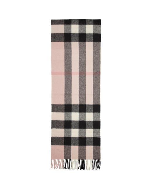 Burberry ピンク カシミア ハーフ メガ チェック スカーフ Multicolor