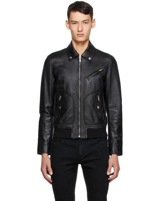 メンズ Saint Laurent ブラック レザー ジャケット Black